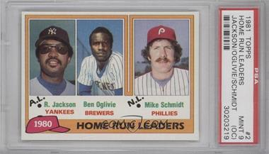1981 Topps - [Base] #2 - Home Run Leaders (Reggie Jackson, Ben Oglivie, Mike Schmidt) [PSA9(OC)]