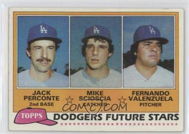 1981 Topps - [Base] #302 - Jack Perconte, Mike Scioscia, Fernando Valenzuela