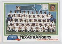 Team Checklist - Texas Rangers