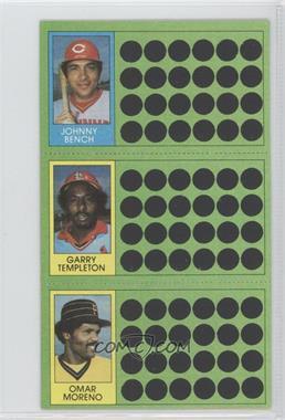 1981 Topps Baseball Scratch-Off - [Base] #100-82-64 - Garry Templeton, Omar Moreno, Johnny Bench