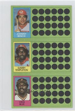 1981 Topps Baseball Scratch-Off - [Base] #108-82-64 - Johnny Bench, Garry Templeton, Vida Blue