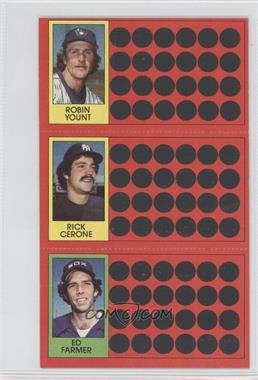 1981 Topps Baseball Scratch-Off - [Base] #54-28-10 - Robin Yount, Rick Cerone, Ed Farmer