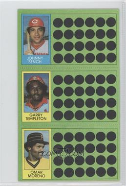 1981 Topps Baseball Scratch-Off #100-82-64 - Garry Templeton, Omar Moreno, Johnny Bench