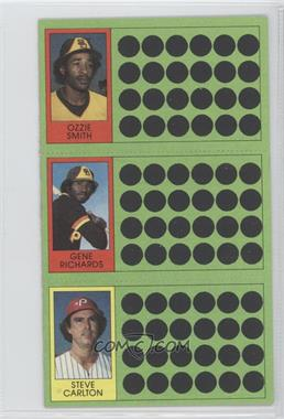 1981 Topps Baseball Scratch-Off #104-86-68 - Ozzie Smith, German Rivera, Steve Carlton