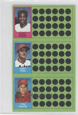 1981 Topps Baseball Scratch-Off #107-88-71 - Dusty Baker, Terry Puhl, Tom Seaver