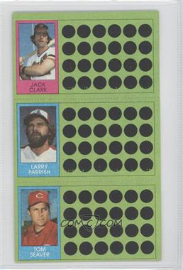 1981 Topps Baseball Scratch-Off #107-89-70 - Jack Clark, Tom Seaver, Larry Parrish