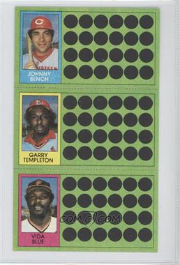 1981 Topps Baseball Scratch-Off #108-82-64 - Johnny Bench, Garry Templeton, Vida Blue