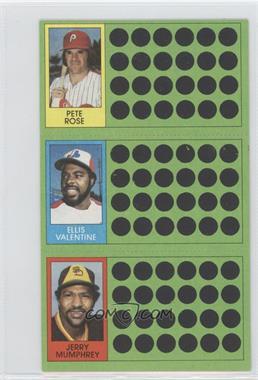 1981 Topps Baseball Scratch-Off #445 - Ken Singleton, Pete Rose, Elmer Valo, Jerry Mumphrey