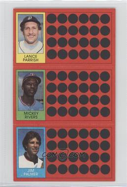 1981 Topps Baseball Scratch-Off #50-31-14 - Mickey Rivers, Jim Palmer, Lance Parrish