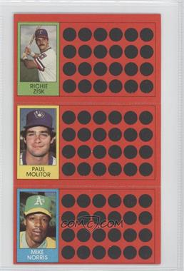 1981 Topps Baseball Scratch-Off #53-35-16 - Richie Zisk, Paul Molitor, Mike Norris