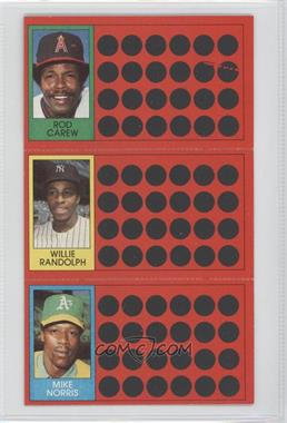 1981 Topps Baseball Scratch-Off #53-36-18 - Rod Carew, Willie Randolph, Mike Norris