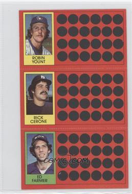 1981 Topps Baseball Scratch-Off #54-28-10 - Robin Yount, Rick Cerone, Ed Farmer