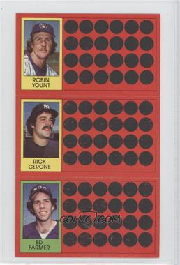 1981 Topps Baseball Scratch-Off #54-28-10 - Robin Yount, Rick Cerone, Ed Farmer