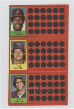 1981 Topps Baseball Scratch-Off #54-35-18 - Rod Carew, Ed Farmer, Paul Molitor