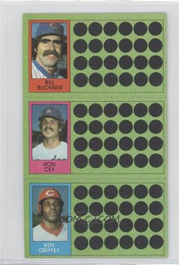 1981 Topps Baseball Scratch-Off #91-73-55 - Bill Buckner, Ron Cey, Ken Griffey