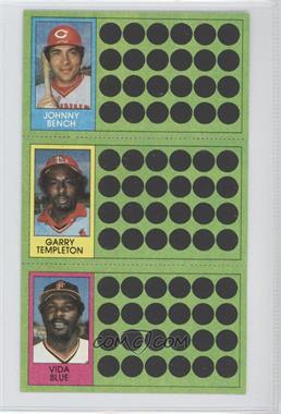1981 Topps Baseball Scratch-Off #N/A - Johnny Bench, Garry Templeton, Vida Blue