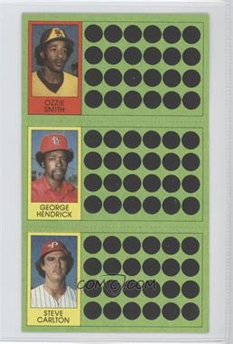 1981 Topps Baseball Scratch-Off #N/A - Ozzie Smith, George Hendrick, Steve Carlton