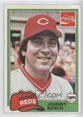 1981 Topps Coca-Cola Team Sets Cincinnati Reds #1 - Johnny Bench