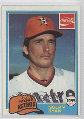 1981 Topps Coca-Cola Team Sets Houston Astros #9 - Nolan Ryan