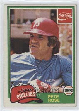 1981 Topps Coca-Cola Team Sets Philadelphia Phillies #8 - Pete Rose