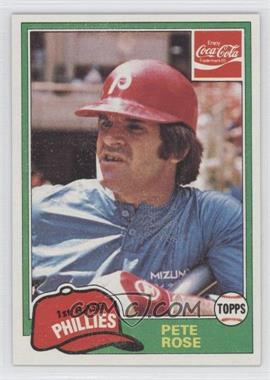 1981 Topps Coca-Cola Team Sets #8 - Pete Rose