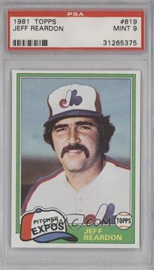 1981 Topps Traded - [Base] #819 - Jeff Reardon [PSA9]