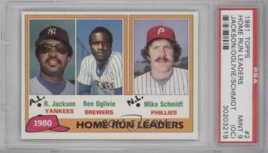 1981 Topps #2 - Home Run Leaders (Reggie Jackson, Ben Oglivie, Mike Schmidt) [PSA 9 (OC)]