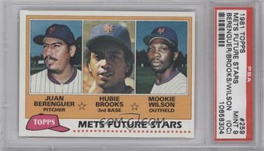 1981 Topps #259 - Juan Berenguer, Hubie Brooks, Mookie Wilson [PSA9(OC)]