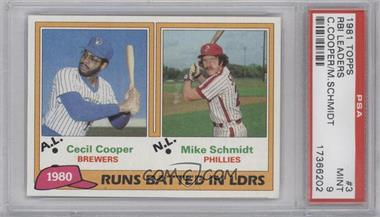 1981 Topps #3 - Cecil Cooper, Mike Schmidt [PSA 9]