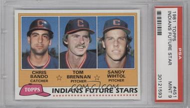 1981 Topps #451 - Chris Bando, Tom Brennan, Sandy Wihtol [PSA 9]