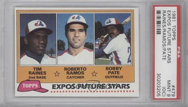 1981 Topps #479 - Tim Raines, Bob Pate, Roberto Ramos [PSA9(OC)]