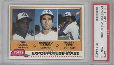 1981 Topps #479 - Tim Raines, Bob Pate, Roberto Ramos [PSA9]