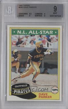 1981 Topps #640 - Dave Parker [BGS 9]