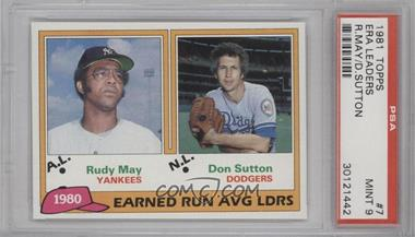 1981 Topps #7 - Rudy May, Don Sutton [PSA9]