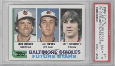 1982 Topps #21 - Baltimore Orioles Future Stars (Bob Bonner, Cal Ripken, Jeff Schneider) [PSA8]