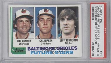 1982 Topps #21 - Bob Bonner, Cal Ripken, Jeff Schneider [PSA8]