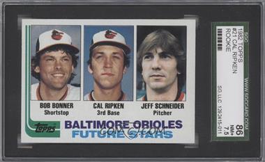1982 Topps #21 - Bobby Bonner, Cal Ripken Jr., Jeff Schneider [SGC86]
