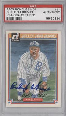1983 Donruss Hall of Fame Heroes #21 - Burleigh Grimes [PSA/DNA Certified Auto]