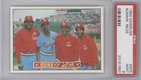 David Green, Willie McGee, Ozzie Smith, Lonnie Smith [PSA 9]