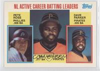 NL Active Career Batting Leaders (Pete Rose, Bill Madlock, Dave Parker)
