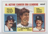 AL Active Career ERA Leaders (Rollie Fingers, Ron Guidry, Jim Palmer)