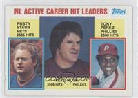 NL Active Career Hits Leaders (Rusty Staub, Pete Rose, Tony Perez)