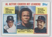 AL Active Career Hit Leaders (Rod Carew, Reggie Jackson, Bert Campaneris)