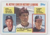 AL Active Career Victory Leaders (Don Sutton, Jim Palmer, Tommy John)