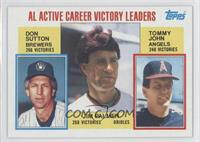 AL Active Career Victory Leaders (Don Sutton, Tommy John, Jim Palmer)