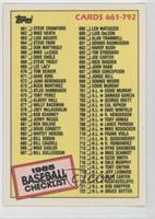 Checklist - Cards 661-792