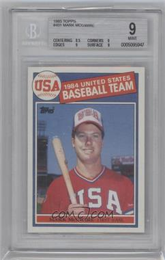 1985 Topps #401 - Mark McGwire [BGS 9]