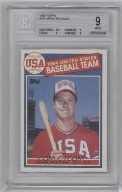 1985 Topps #401 - Mark McGwire [BGS9]