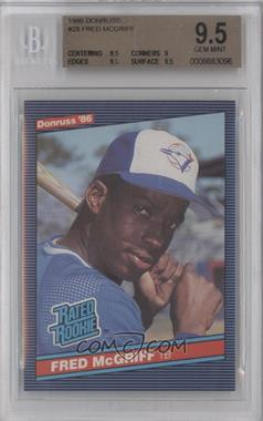 1986 Donruss #28 - Fred McGriff [BGS 9.5]