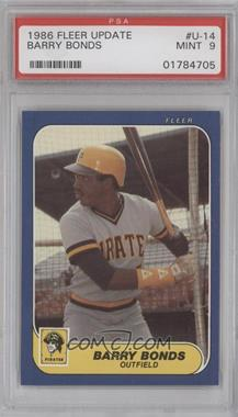 1986 Fleer Update Factory Set [Base] #U-14 - Barry Bonds [PSA 9]